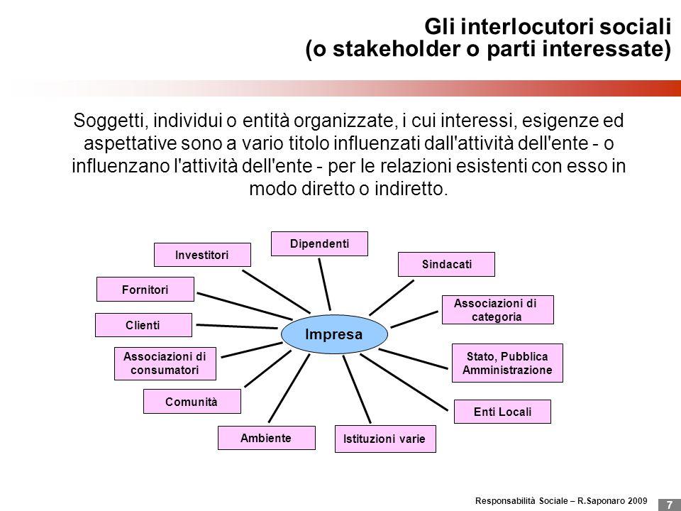 Responsabilità Sociale – R.Saponaro 2009 7 Gli interlocutori sociali (o stakeholder o parti interessate) Impresa Investitori Fornitori Clienti Associa