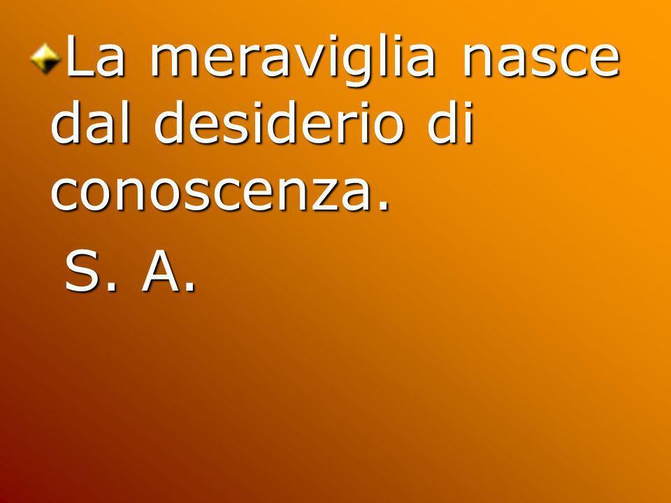 La meraviglia nasce dal desiderio di conoscenza. S. A. S. A.