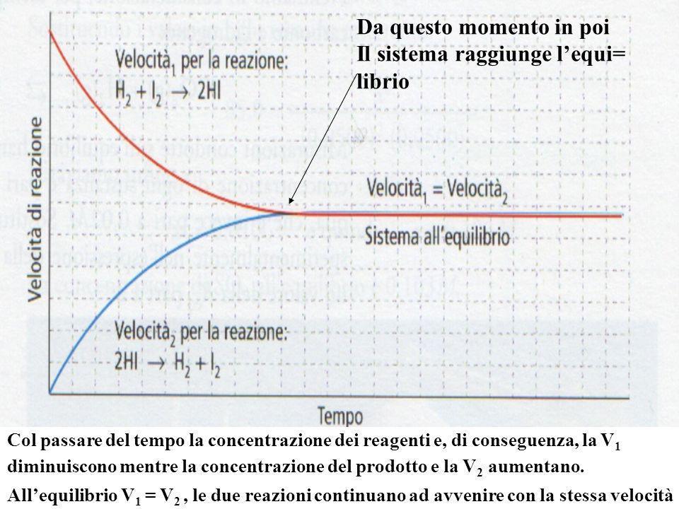 Da questo momento in poi Il sistema raggiunge lequi= librio Col passare del tempo la concentrazione dei reagenti e, di conseguenza, la V 1 diminuiscono mentre la concentrazione del prodotto e la V 2 aumentano.