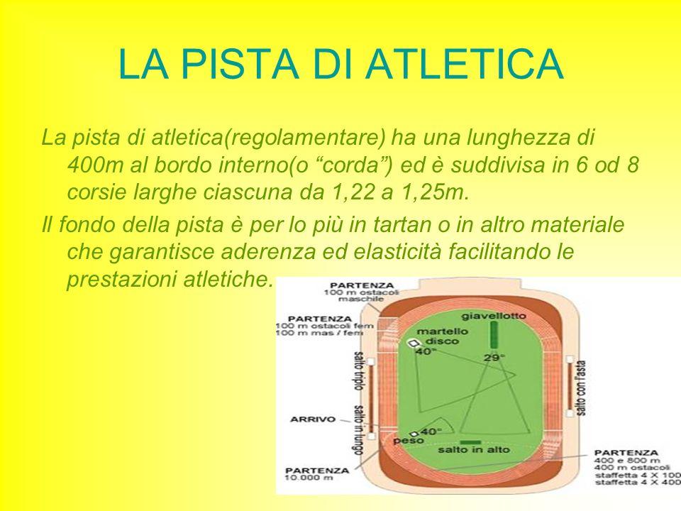 LA PISTA DI ATLETICA La pista di atletica(regolamentare) ha una lunghezza di 400m al bordo interno(o corda) ed è suddivisa in 6 od 8 corsie larghe cia