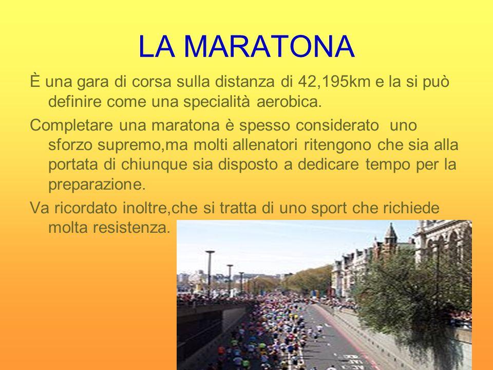 LA MARATONA È una gara di corsa sulla distanza di 42,195km e la si può definire come una specialità aerobica. Completare una maratona è spesso conside