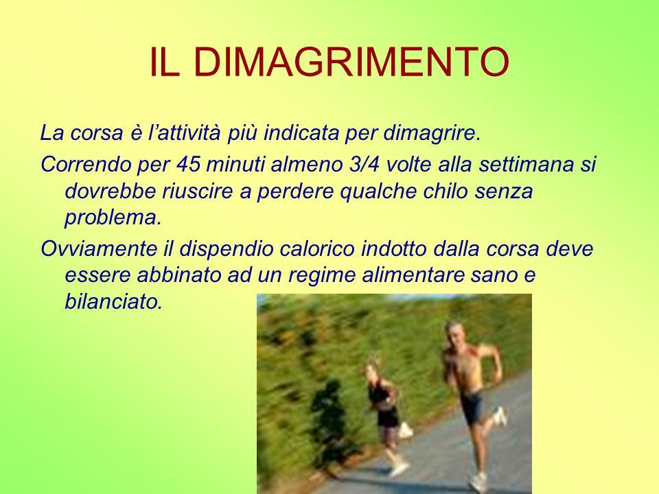 IL DIMAGRIMENTO La corsa è lattività più indicata per dimagrire. Correndo per 45 minuti almeno 3/4 volte alla settimana si dovrebbe riuscire a perdere