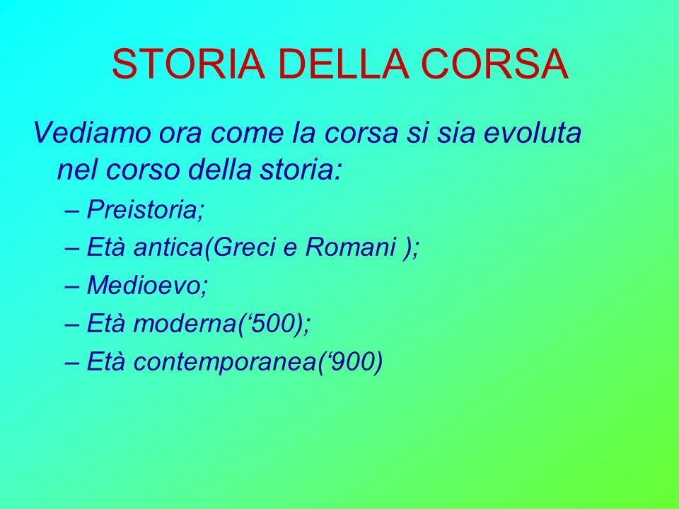 STORIA DELLA CORSA Vediamo ora come la corsa si sia evoluta nel corso della storia: –Preistoria; –Età antica(Greci e Romani ); –Medioevo; –Età moderna