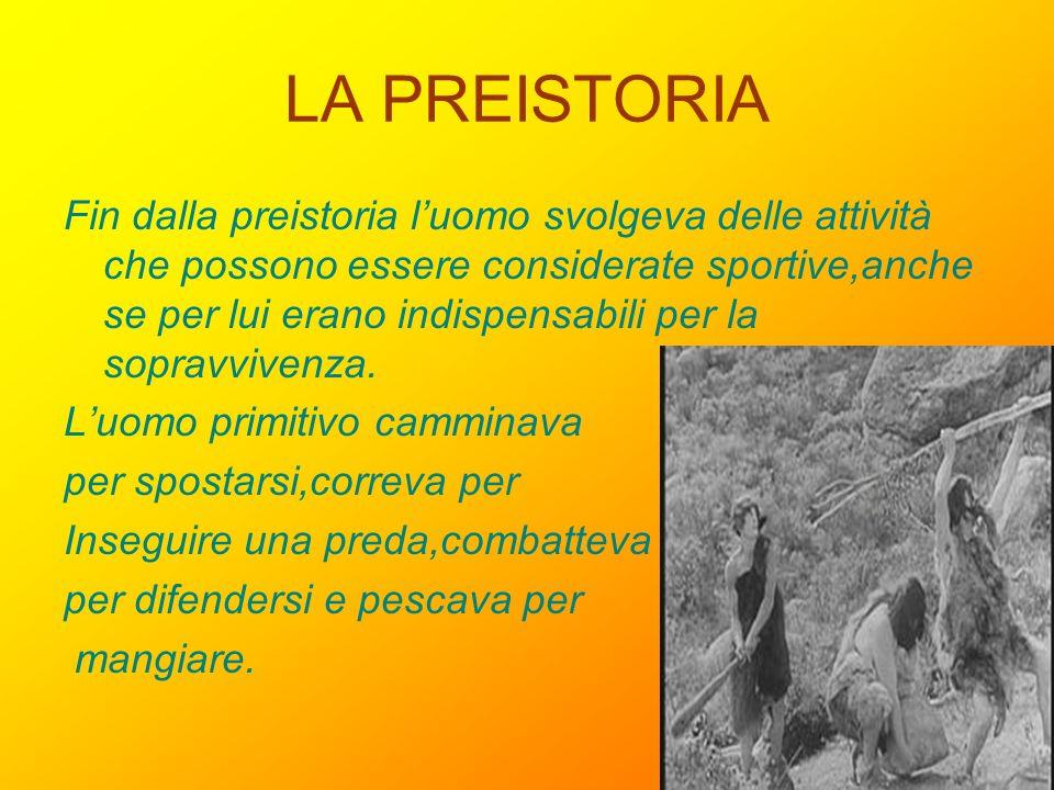 LA PREISTORIA Fin dalla preistoria luomo svolgeva delle attività che possono essere considerate sportive,anche se per lui erano indispensabili per la