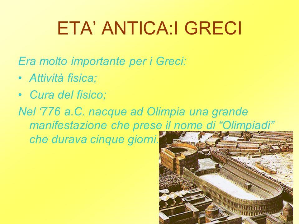 ETA ANTICA:I GRECI Era molto importante per i Greci: Attività fisica; Cura del fisico; Nel 776 a.C. nacque ad Olimpia una grande manifestazione che pr