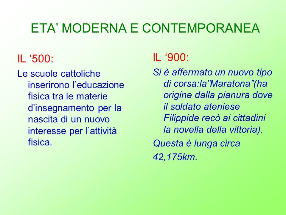 ETA MODERNA E CONTEMPORANEA IL 500: Le scuole cattoliche inserirono leducazione fisica tra le materie dinsegnamento per la nascita di un nuovo interes