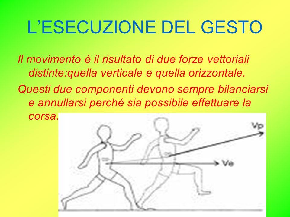 LESECUZIONE DEL GESTO Il movimento è il risultato di due forze vettoriali distinte:quella verticale e quella orizzontale. Questi due componenti devono