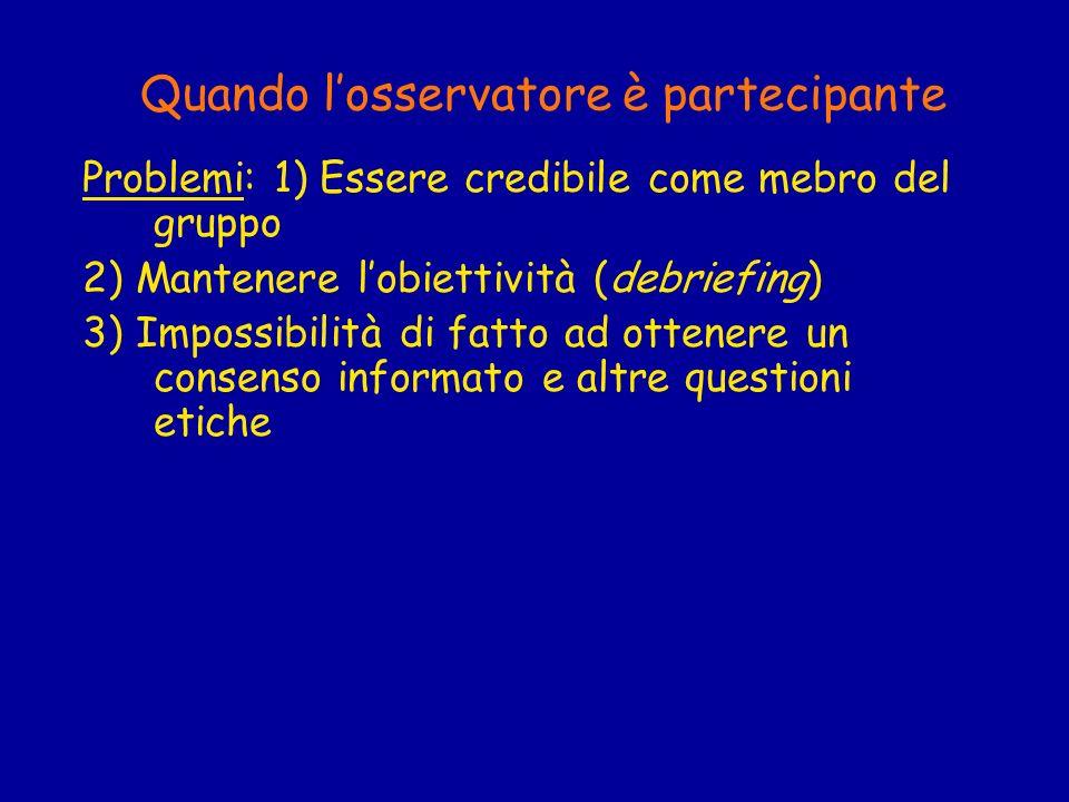 Quando losservatore è partecipante Problemi: 1) Essere credibile come mebro del gruppo 2) Mantenere lobiettività (debriefing) 3) Impossibilità di fatt