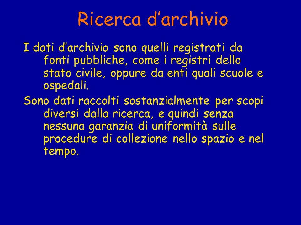 Ricerca darchivio I dati darchivio sono quelli registrati da fonti pubbliche, come i registri dello stato civile, oppure da enti quali scuole e ospeda