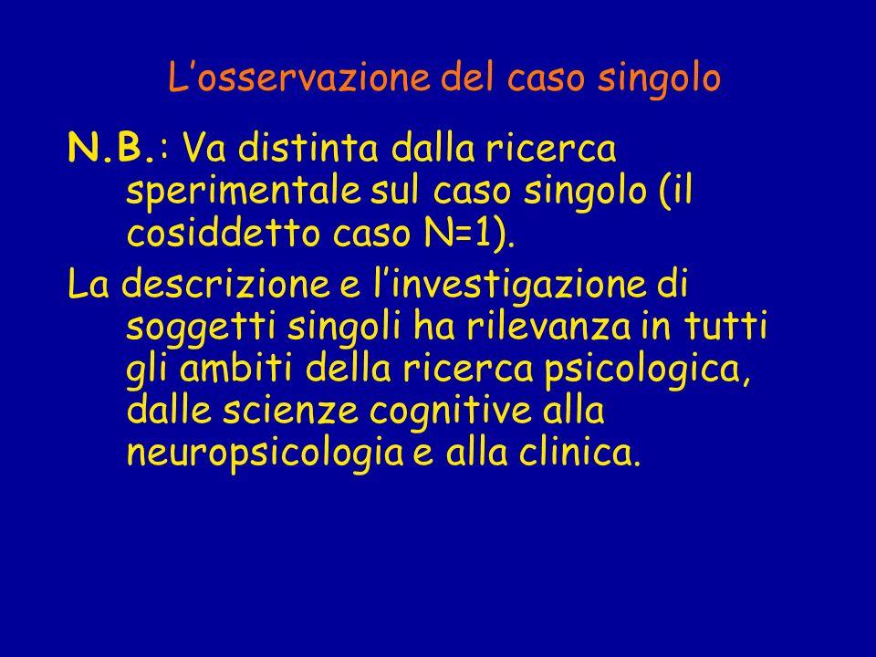 Losservazione del caso singolo N.B.: Va distinta dalla ricerca sperimentale sul caso singolo (il cosiddetto caso N=1). La descrizione e linvestigazion