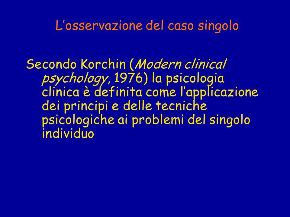 Losservazione del caso singolo Secondo Korchin (Modern clinical psychology, 1976) la psicologia clinica è definita come lapplicazione dei principi e d