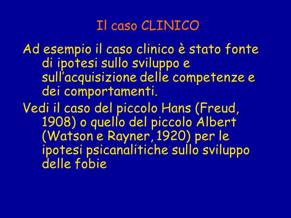 Il caso CLINICO Ad esempio il caso clinico è stato fonte di ipotesi sullo sviluppo e sullacquisizione delle competenze e dei comportamenti. Vedi il ca