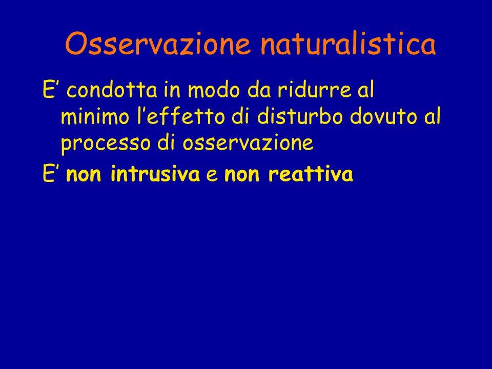 Osservazione naturalistica E condotta in modo da ridurre al minimo leffetto di disturbo dovuto al processo di osservazione E non intrusiva e non reatt