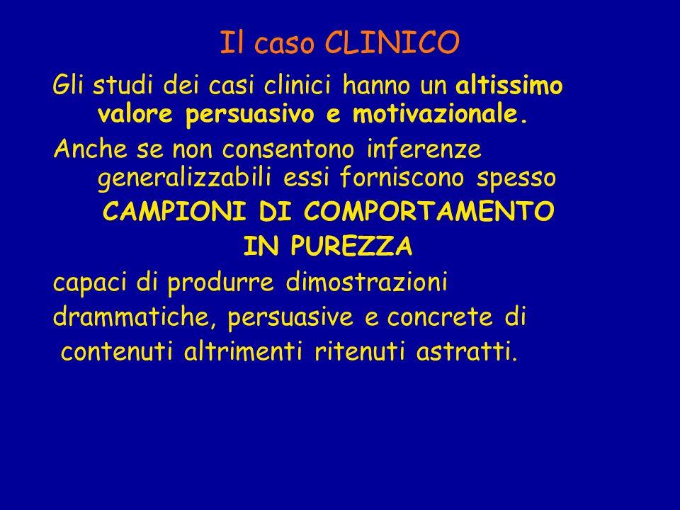 Il caso CLINICO Gli studi dei casi clinici hanno un altissimo valore persuasivo e motivazionale. Anche se non consentono inferenze generalizzabili ess