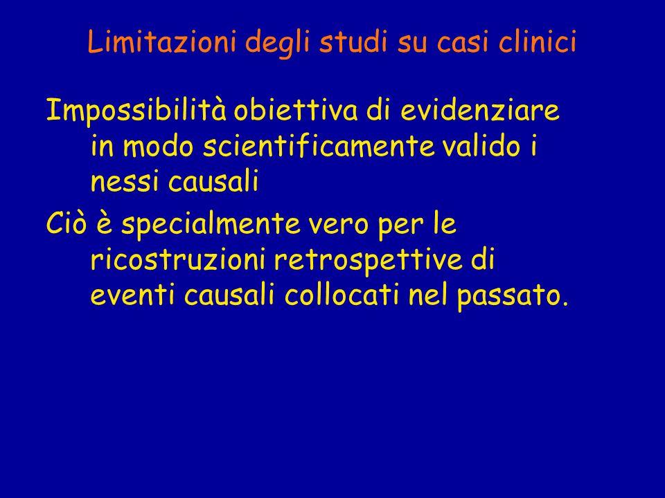 Limitazioni degli studi su casi clinici Impossibilità obiettiva di evidenziare in modo scientificamente valido i nessi causali Ciò è specialmente vero
