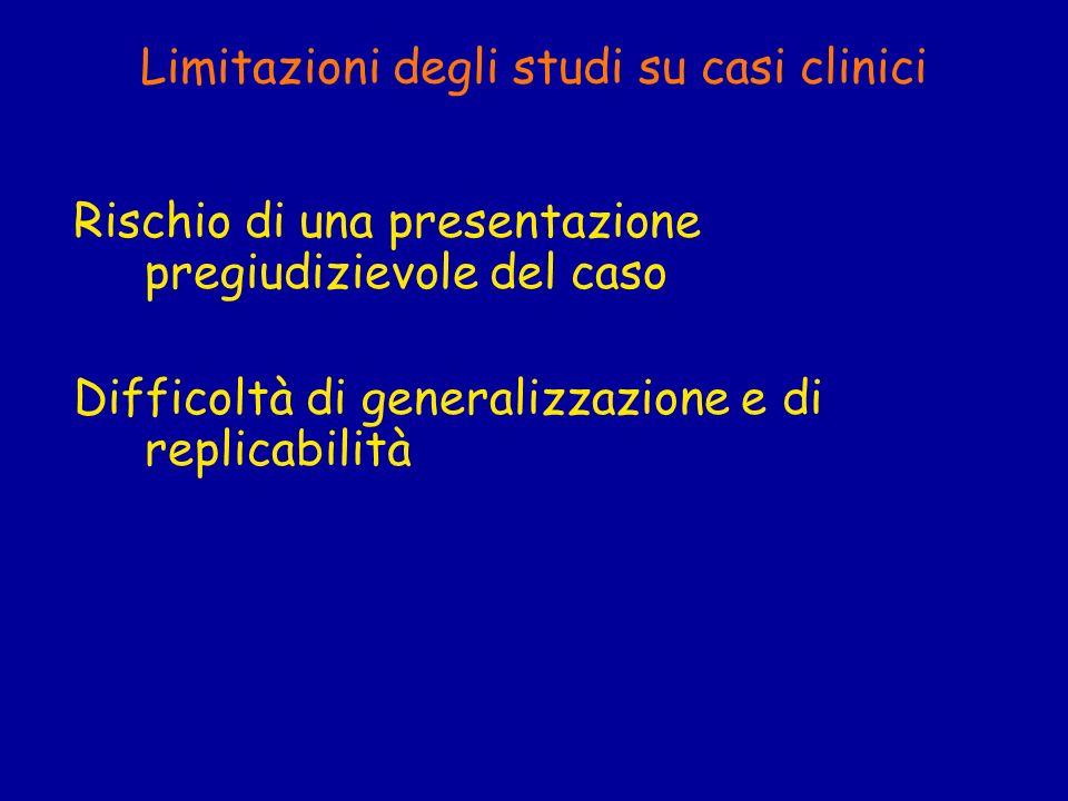 Limitazioni degli studi su casi clinici Rischio di una presentazione pregiudizievole del caso Difficoltà di generalizzazione e di replicabilità