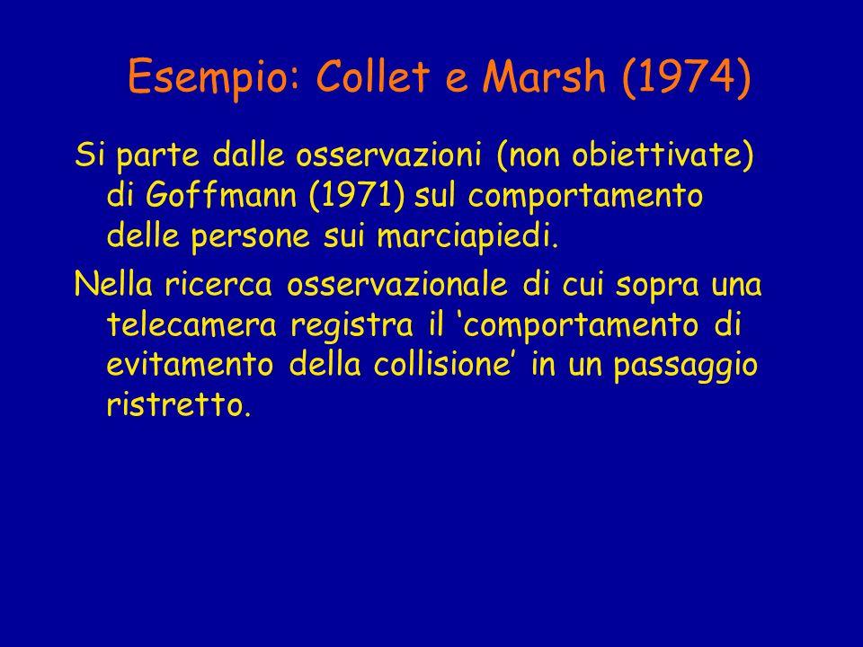 Esempio: Collet e Marsh (1974) Si parte dalle osservazioni (non obiettivate) di Goffmann (1971) sul comportamento delle persone sui marciapiedi. Nella