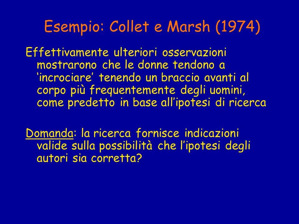 Esempio: Collet e Marsh (1974) Effettivamente ulteriori osservazioni mostrarono che le donne tendono a incrociare tenendo un braccio avanti al corpo p