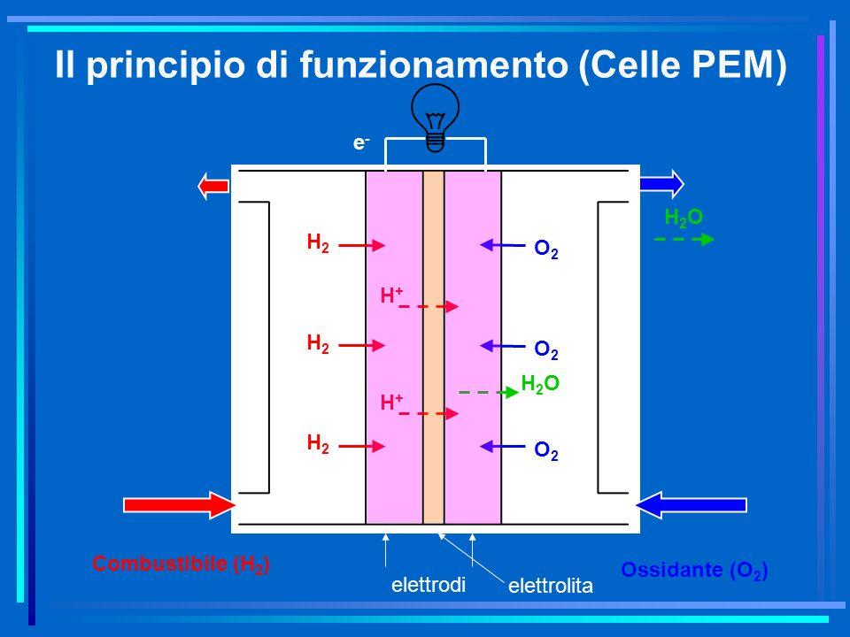 Combustibile (H 2 ) Ossidante (O 2 ) H2H2 H2H2 H2H2 O2O2 O2O2 O2O2 H+H+ H+H+ H2OH2O e-e- elettrodi elettrolita Il principio di funzionamento (Celle PE