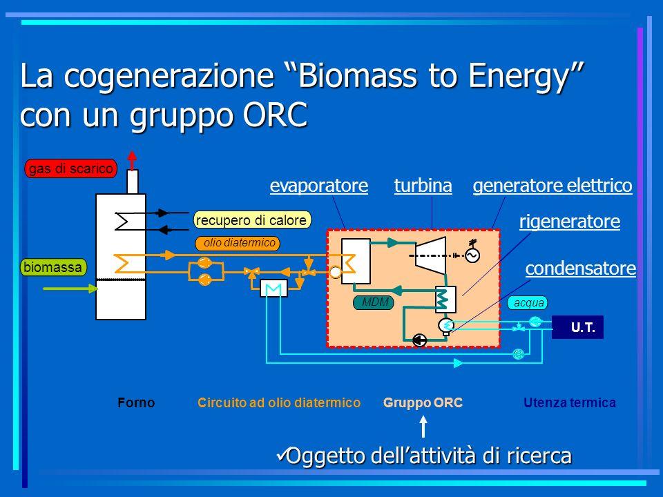 La cogenerazione Biomass to Energy con un gruppo ORC evaporatoreturbina rigeneratore condensatore generatore elettrico Oggetto dellattività di ricerca