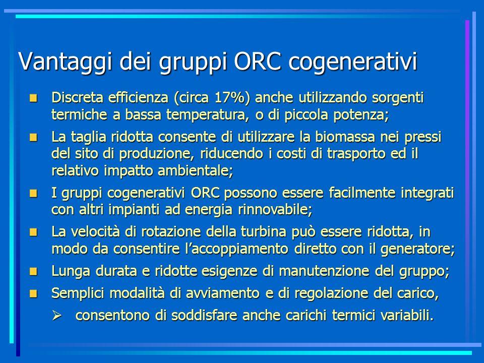 Vantaggi dei gruppi ORC cogenerativi Discreta efficienza (circa 17%) anche utilizzando sorgenti termiche a bassa temperatura, o di piccola potenza; La