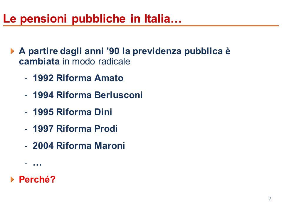 www.mefop.it 2 Le pensioni pubbliche in Italia… A partire dagli anni 90 la previdenza pubblica è cambiata in modo radicale -1992 Riforma Amato -1994 Riforma Berlusconi -1995 Riforma Dini -1997 Riforma Prodi -2004 Riforma Maroni -… Perché?