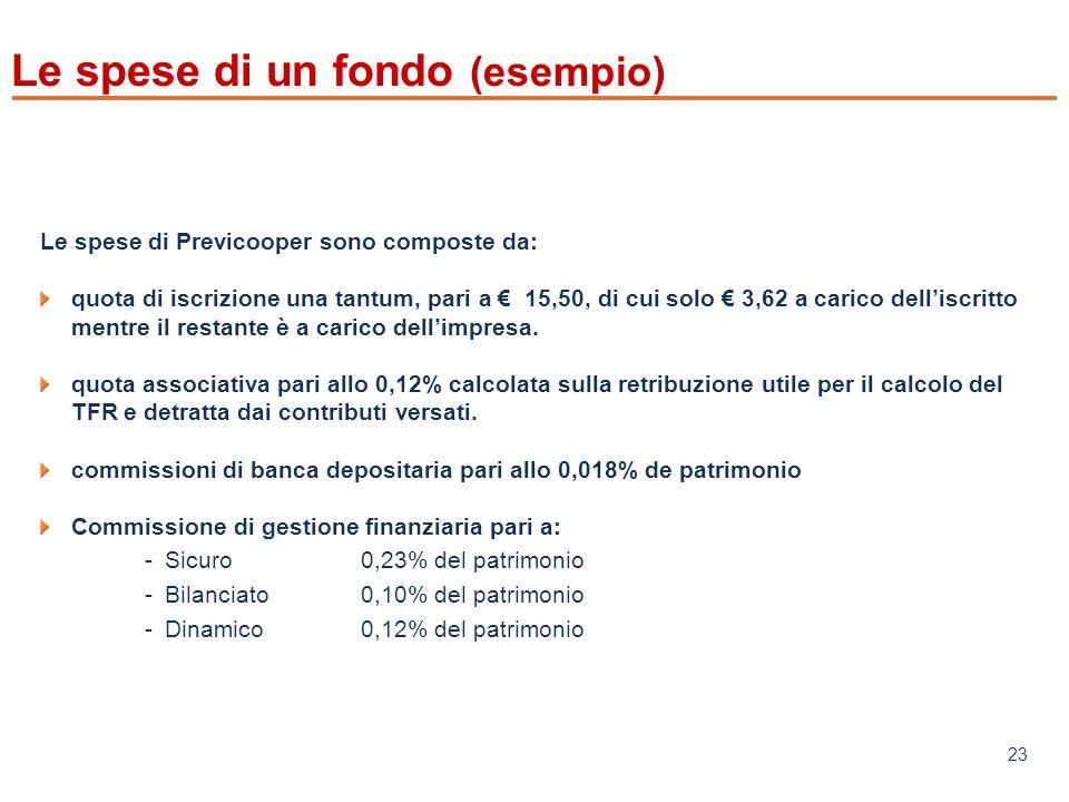 www.mefop.it 23 Le spese di un fondo (esempio) Le spese di Previcooper sono composte da: quota di iscrizione una tantum, pari a 15,50, di cui solo 3,62 a carico delliscritto mentre il restante è a carico dellimpresa.