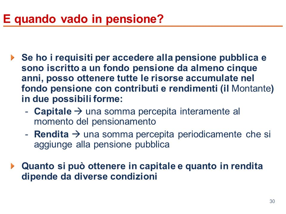 www.mefop.it 30 E quando vado in pensione.