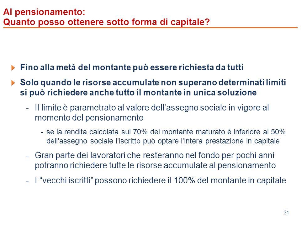 www.mefop.it 31 Al pensionamento: Quanto posso ottenere sotto forma di capitale.