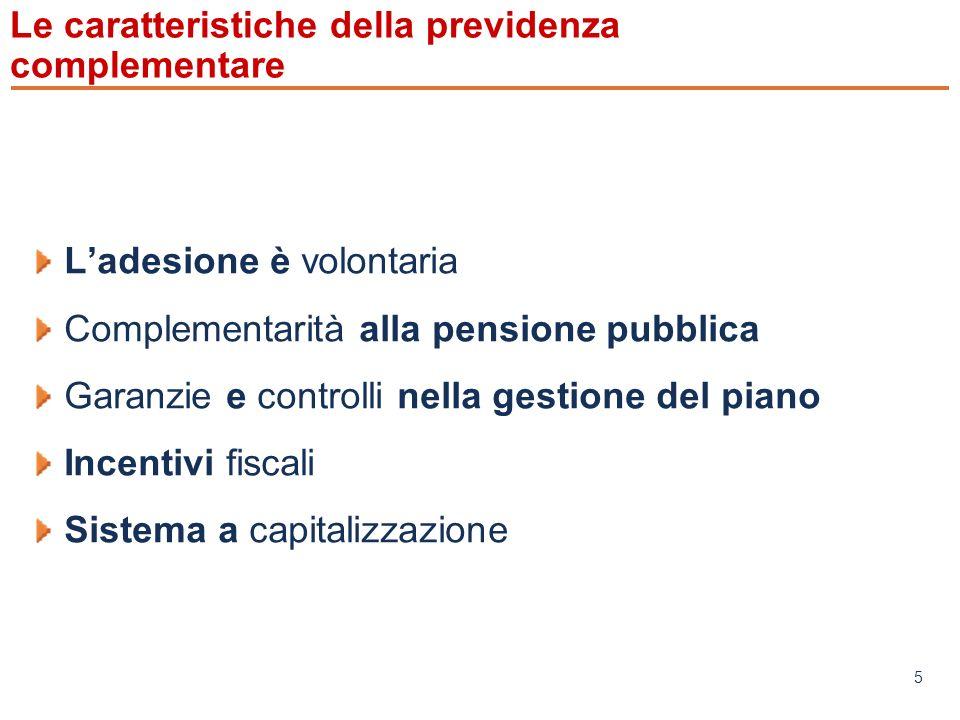 www.mefop.it 5 Le caratteristiche della previdenza complementare Ladesione è volontaria Complementarità alla pensione pubblica Garanzie e controlli nella gestione del piano Incentivi fiscali Sistema a capitalizzazione