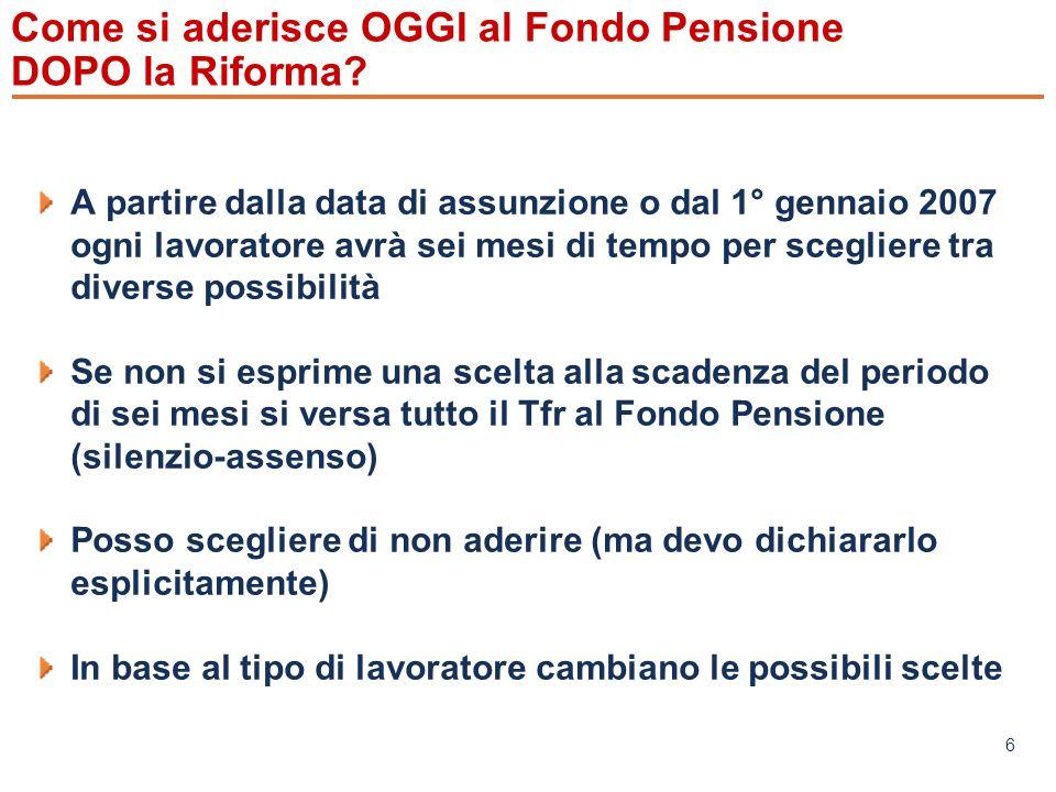 www.mefop.it 6 Come si aderisce OGGI al Fondo Pensione DOPO la Riforma.