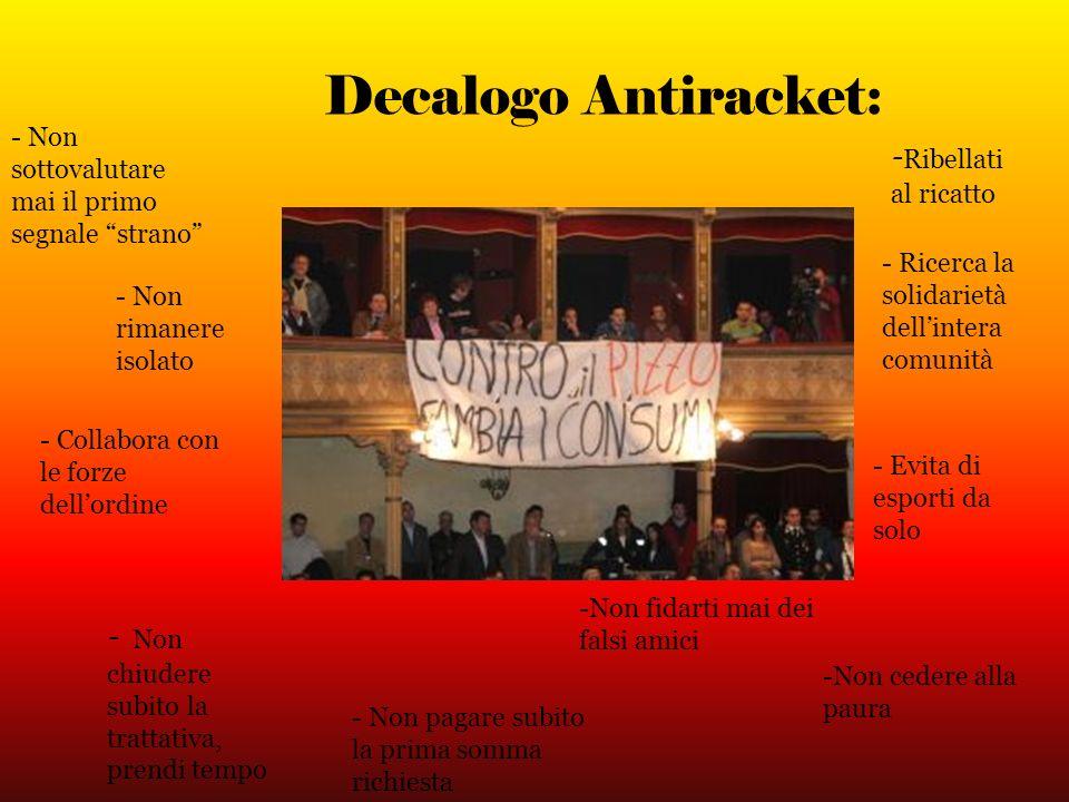 Decalogo Antiracket: - Non sottovalutare mai il primo segnale strano - Non rimanere isolato - Collabora con le forze dellordine - N on chiudere subito