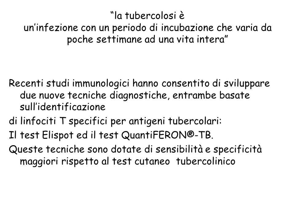 la tubercolosi è uninfezione con un periodo di incubazione che varia da poche settimane ad una vita intera Recenti studi immunologici hanno consentito