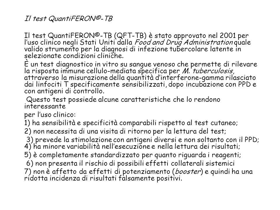Il test QuantiFERON©-TB Il test QuantiFERON©-TB (QFT-TB) è stato approvato nel 2001 per luso clinico negli Stati Uniti dalla Food and Drug Administrat