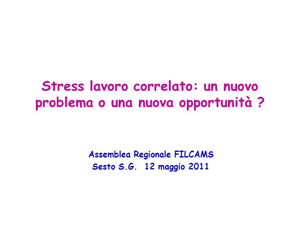 Stress lavoro correlato: un nuovo problema o una nuova opportunità ? Assemblea Regionale FILCAMS Sesto S.G. 12 maggio 2011