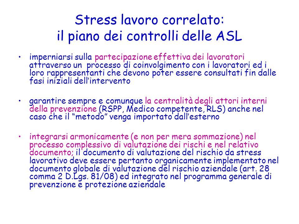 Stress lavoro correlato: il piano dei controlli delle ASL imperniarsi sulla partecipazione effettiva dei lavoratori attraverso un processo di coinvolg