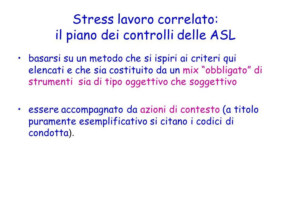 Stress lavoro correlato: il piano dei controlli delle ASL basarsi su un metodo che si ispiri ai criteri qui elencati e che sia costituito da un mix ob