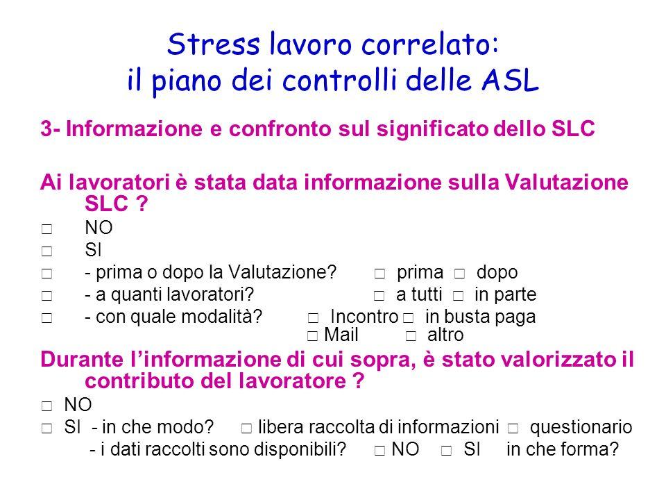 Stress lavoro correlato: il piano dei controlli delle ASL 3- Informazione e confronto sul significato dello SLC Ai lavoratori è stata data informazion