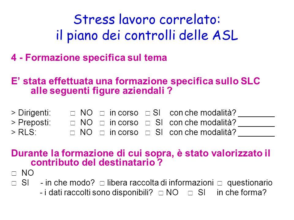 Stress lavoro correlato: il piano dei controlli delle ASL 4 - Formazione specifica sul tema E stata effettuata una formazione specifica sullo SLC alle