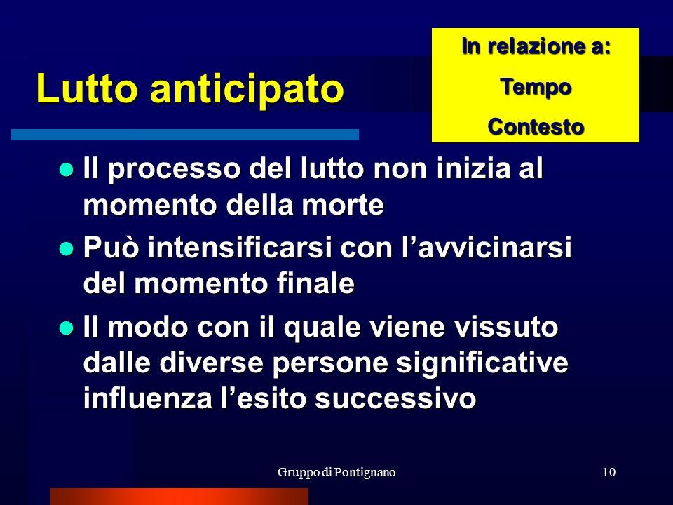 Gruppo di Pontignano10 Lutto anticipato Il processo del lutto non inizia al momento della morte Il processo del lutto non inizia al momento della mort