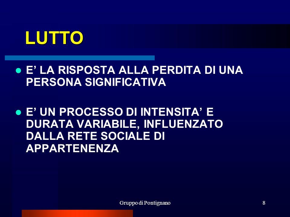 Gruppo di Pontignano8 LUTTO E LA RISPOSTA ALLA PERDITA DI UNA PERSONA SIGNIFICATIVA E UN PROCESSO DI INTENSITA E DURATA VARIABILE, INFLUENZATO DALLA R