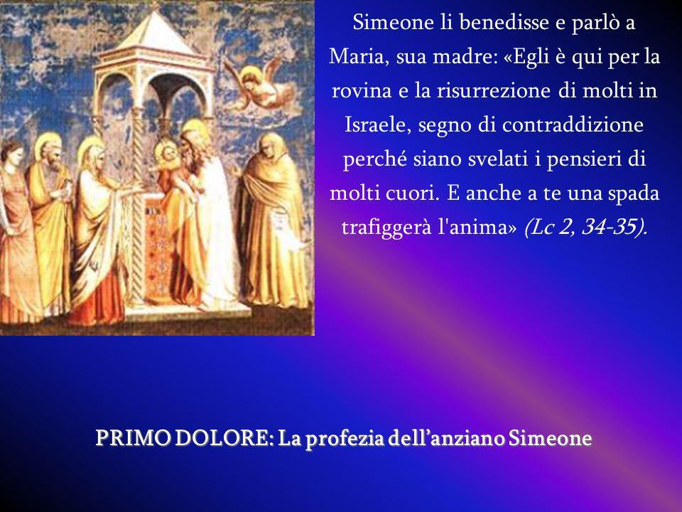 Simeone li benedisse e parlò a Maria, sua madre: «Egli è qui per la rovina e la risurrezione di molti in Israele, segno di contraddizione perché siano