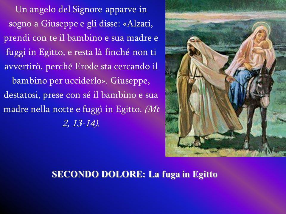 Un angelo del Signore apparve in sogno a Giuseppe e gli disse: «Alzati, prendi con te il bambino e sua madre e fuggi in Egitto, e resta là finché non ti avvertirò, perché Erode sta cercando il bambino per ucciderlo».
