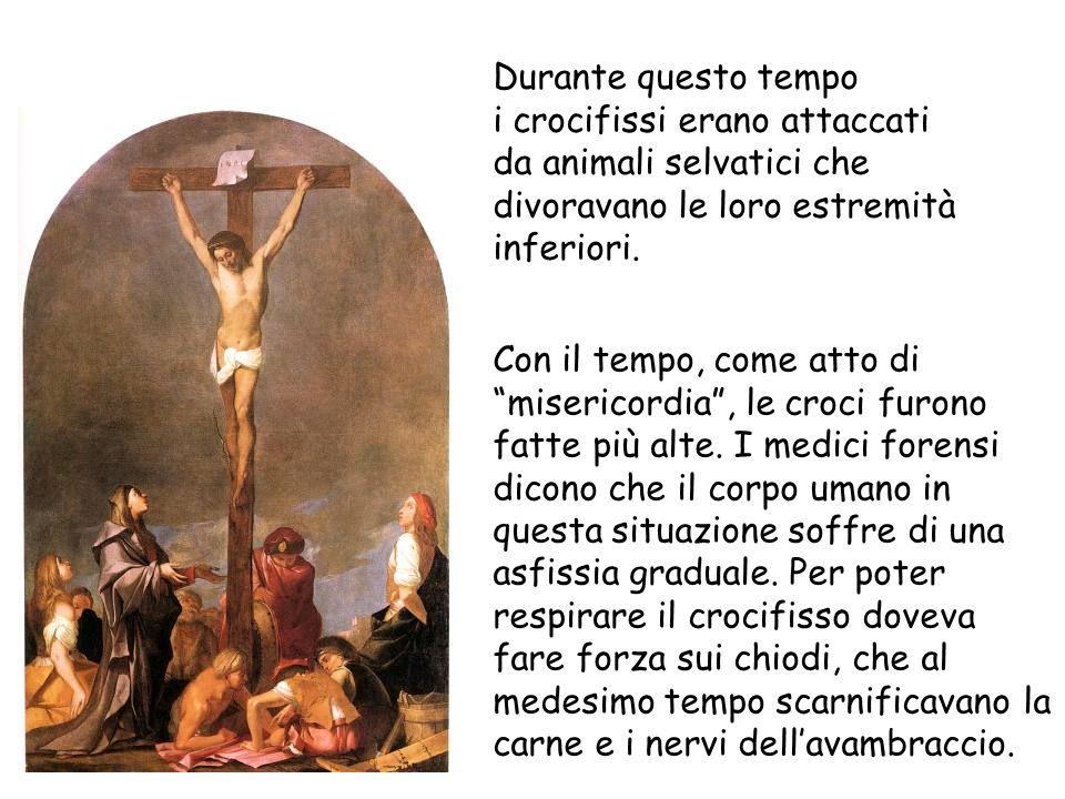 Durante questo tempo i crocifissi erano attaccati da animali selvatici che divoravano le loro estremità inferiori. Con il tempo, come atto di miserico