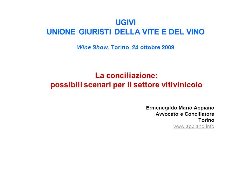 UGIVI UNIONE GIURISTI DELLA VITE E DEL VINO Wine Show, Torino, 24 ottobre 2009 La conciliazione: possibili scenari per il settore vitivinicolo Ermeneg