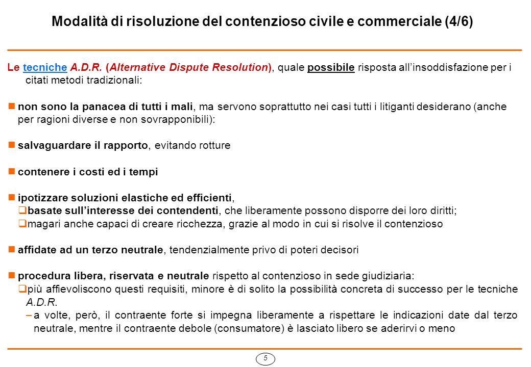 6 Modalità di risoluzione del contenzioso civile e commerciale (5/6) Il contenzioso in sede giudiziaria resta lultima via da percorrere in caso di fallimento della metodologia A.D.R.