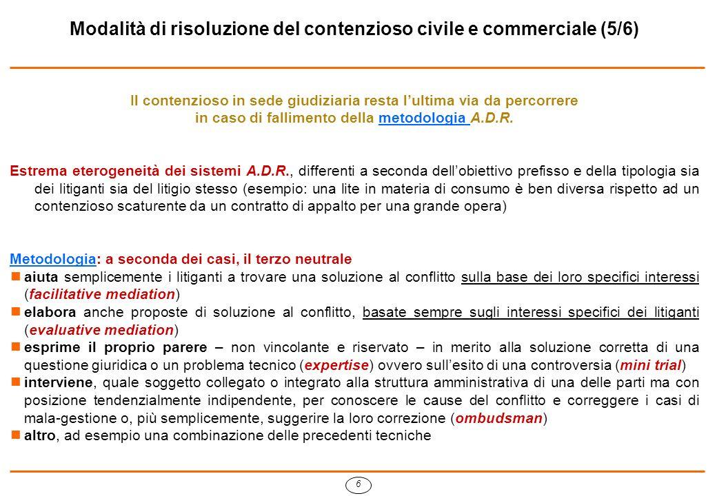 7 Modalità di risoluzione del contenzioso civile e commerciale (6/6) In Italia, quando si parla di conciliazione: tendenzialmente ci si riferisce alla mediation, sebbene non sia chiaro a quale delle sue due tipologie (facilitative o evaluative): bisogna allora verificare quali compiti assume nel caso specifico il conciliatore.