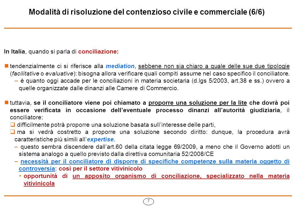 7 Modalità di risoluzione del contenzioso civile e commerciale (6/6) In Italia, quando si parla di conciliazione: tendenzialmente ci si riferisce alla