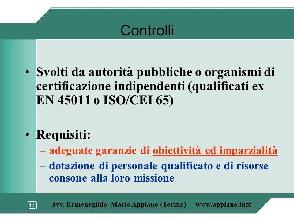 11 avv. Ermenegildo Mario Appiano (Torino) www.appiano.info Controlli Svolti da autorità pubbliche o organismi di certificazione indipendenti (qualifi