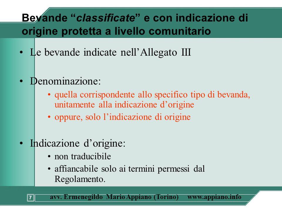 7 avv. Ermenegildo Mario Appiano (Torino) www.appiano.info Bevande classificate e con indicazione di origine protetta a livello comunitario Le bevande